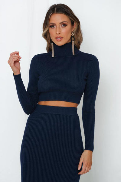 Stick With Me Knit Crop Navy