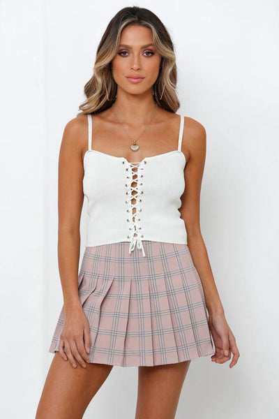 Questions Not Answered Knit Crop White