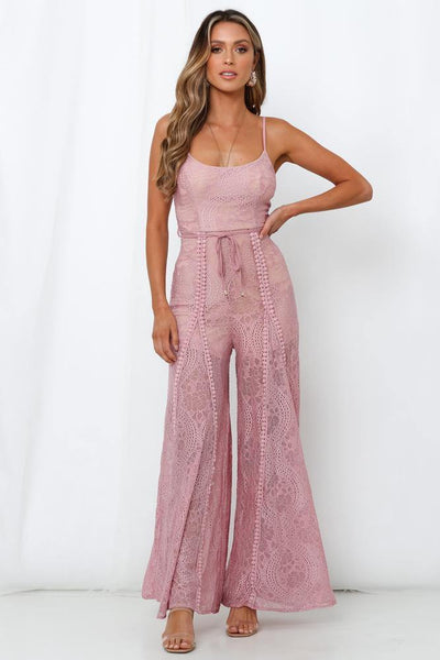 Foot In The Door Jumpsuit Blush