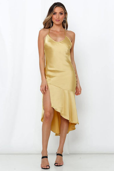 Take My Love Midi Dress Mustard | Hello Molly USA