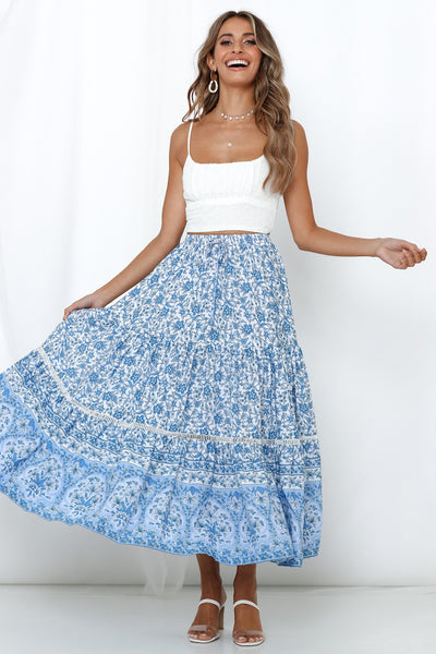 The Golden Hour Maxi Skirt White and Blue