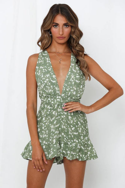 Guessing Games Romper Olive