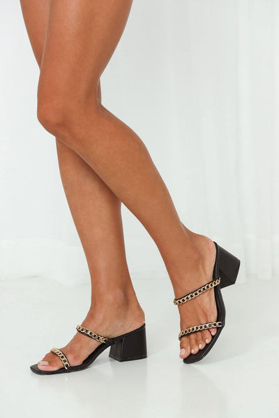 THERAPY Goldie Chained Mules Black