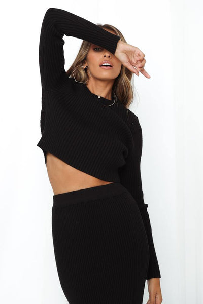 Stellar Work Knit Jumper Black | Hello Molly USA