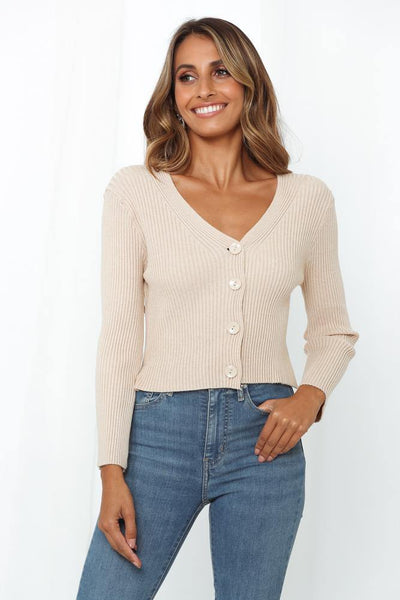 Seaport City Knit Cardigan Beige | Hello Molly USA