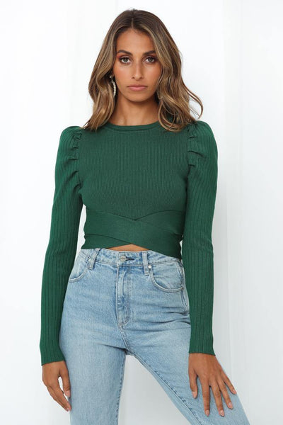 World Inside Knit Top Emerald