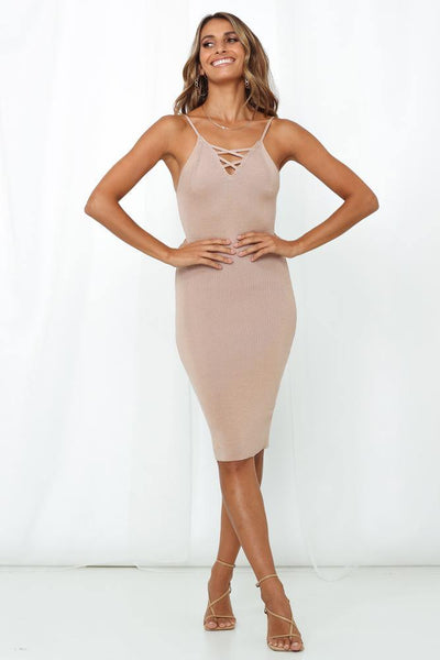 Set Into Motion Knit Midi Dress Nude