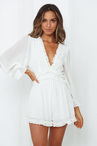 Trip Out To LA Romper White