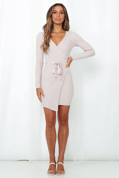 Totally A Hustler Knit Dress Pink