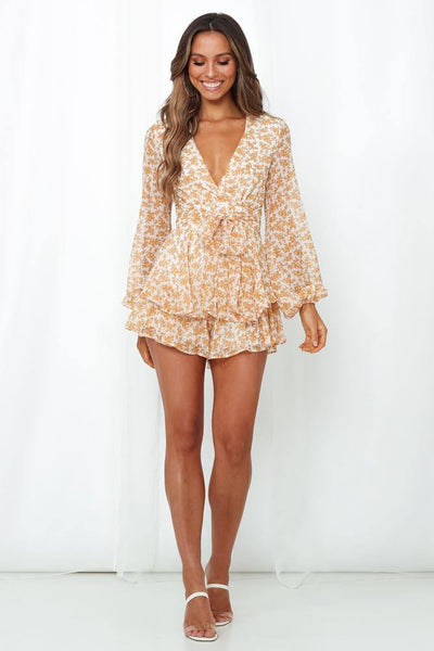 Glitter Beneath My Feet Romper Mustard