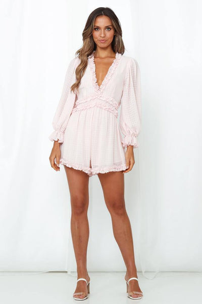 Trip Out To LA Romper Baby Pink