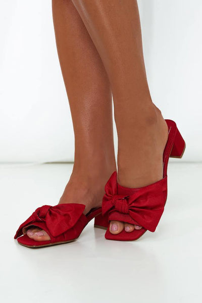 JAGGAR Bow Stripe Heels Red