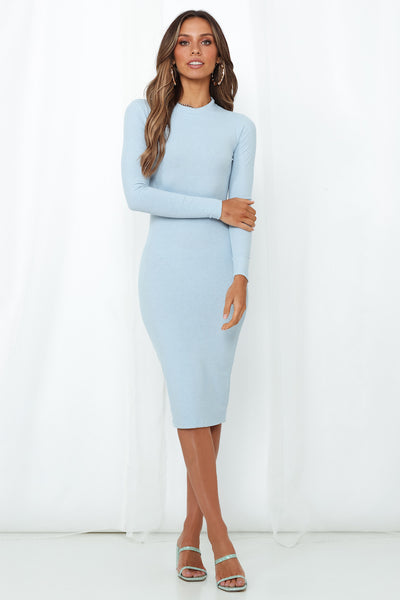 Over The Border Knit Midi Dress Blue