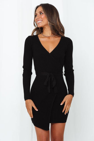 Totally A Hustler Knit Dress Black
