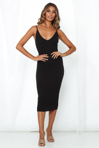 Ghost Of You Knit Midi Dress Black | Hello Molly USA
