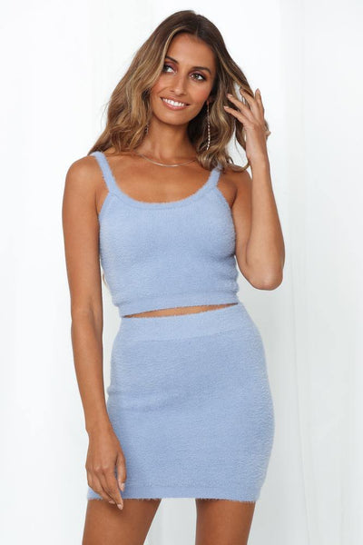 Takes One To Know One Knit Crop Blue