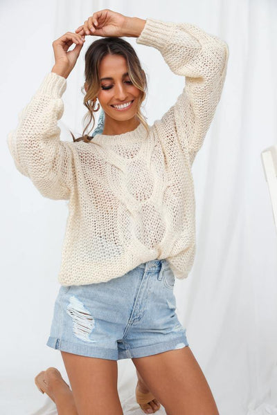 Game Set Match Knit Jumper Cream | Hello Molly USA