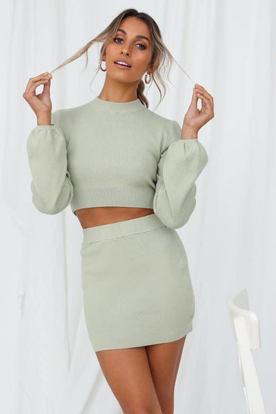 Cold Outside Knit Top Sage | Hello Molly USA
