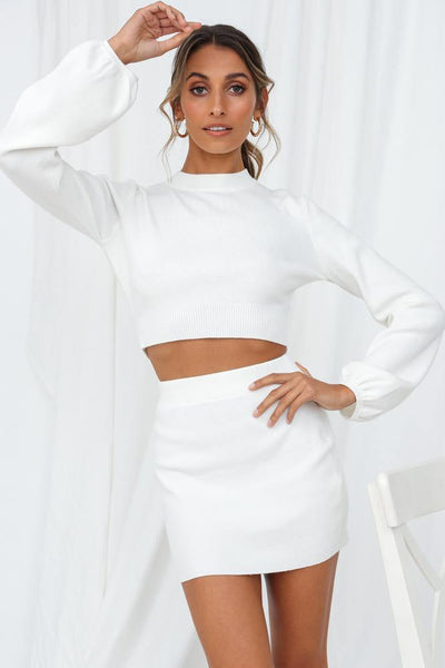 Cold Outside Knit Top White