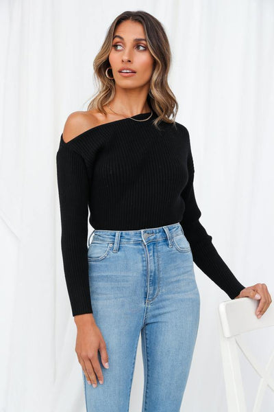 Dream Of A Different Kind Knit Top Black