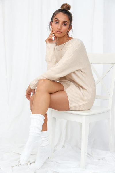 Not My Reality Knit Jumper Beige | Hello Molly USA