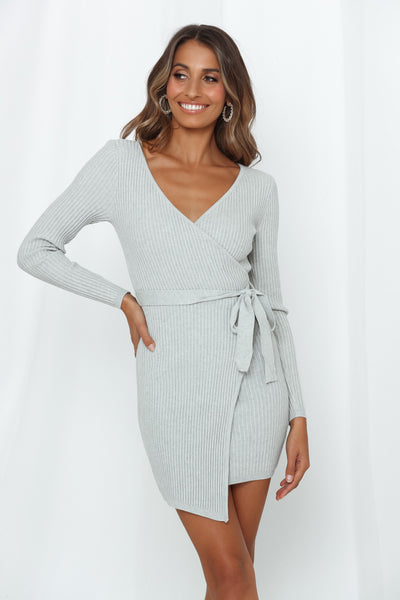 Totally A Hustler Knit Dress Grey