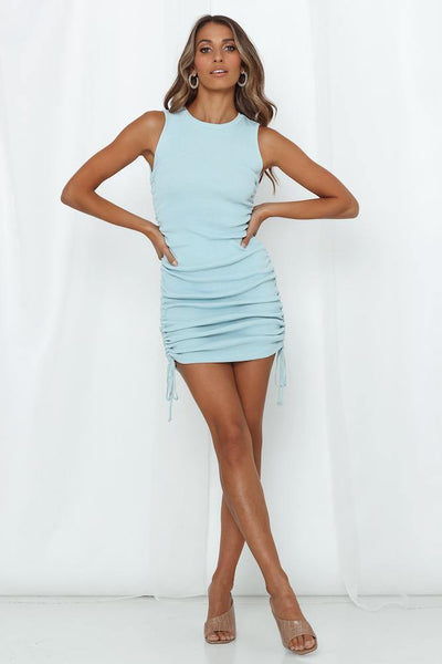 LIONESS Military Minds Mini Dress Baby Blue | Hello Molly USA