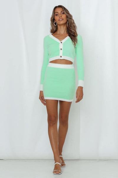 Maximum Views Guaranteed Knit Skirt Mint