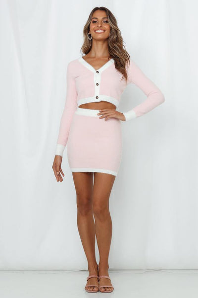 Maximum Views Guaranteed Knit Skirt Pink
