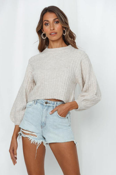 Move On Up Knit Top Beige