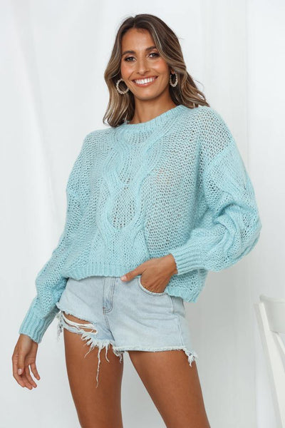 Game Set Match Knit Jumper Blue | Hello Molly USA