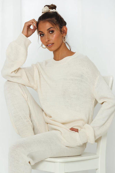 Sleep Mode On Knit Jumper Cream | Hello Molly USA