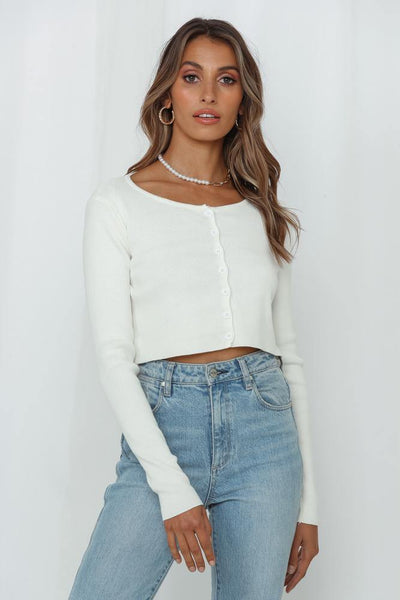 Loving Leia Knit Cardigan White | Hello Molly USA