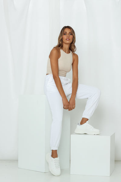 HELLO MOLLY Hit The Snooze Button Joggers White