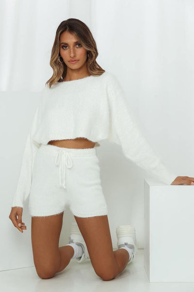 Berry Waffle Cone Crop Jumper White