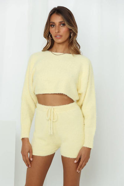 Berry Waffle Cone Crop Jumper Yellow | Hello Molly USA