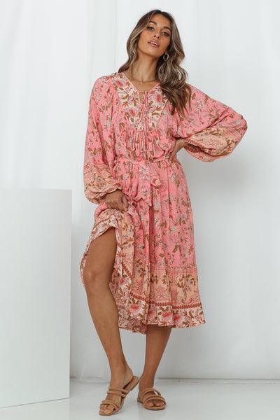 Caribbean Escape Midi Dress Pink
