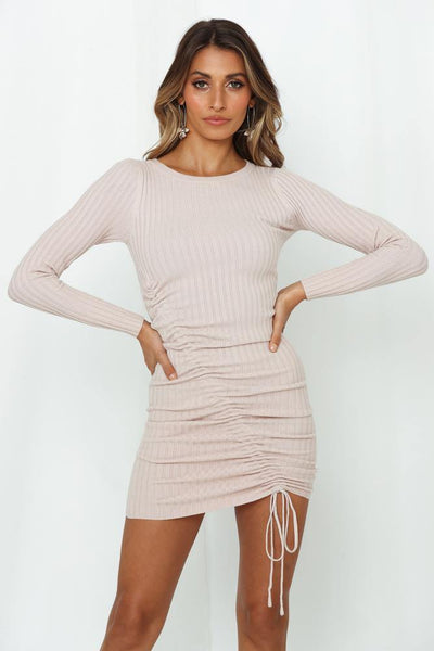 Vanilla Chai Dates Knit Dress Blush