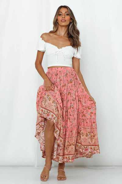 Had Me At Aloha Midi Skirt Pink