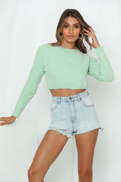 Video Feed Knit Jumper Mint