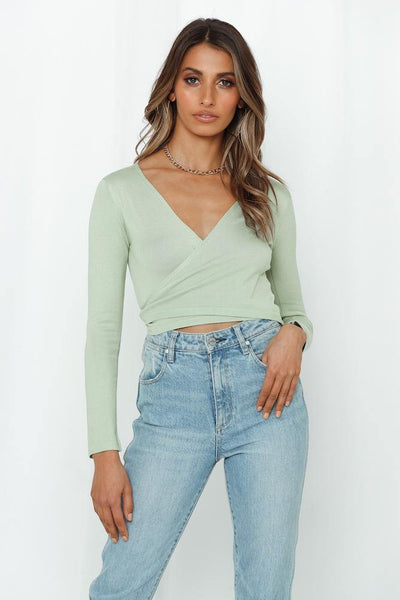Sunday Vibe Wrap Top Sage