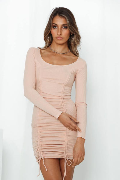 Never Coming Back Home Dress Beige | Hello Molly USA