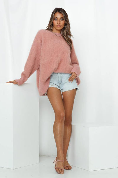 Troubled Mind Knit Jumper Pink | Hello Molly USA