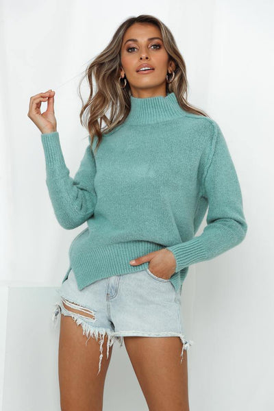 Left Behind Knit Jumper Aqua