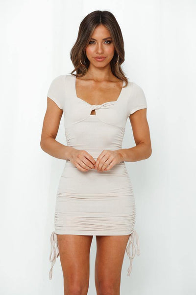 Package Pickup Dress Beige | Hello Molly USA