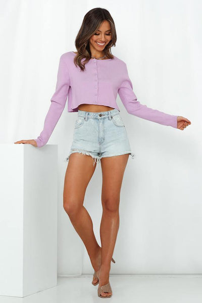 Want Me Back Crop Cardigan Lilac
