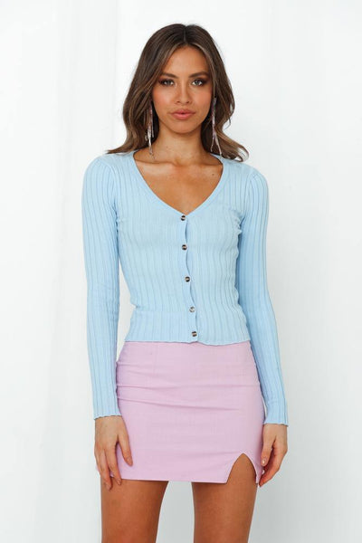 Alright Ladies Knit Cardigan Blue