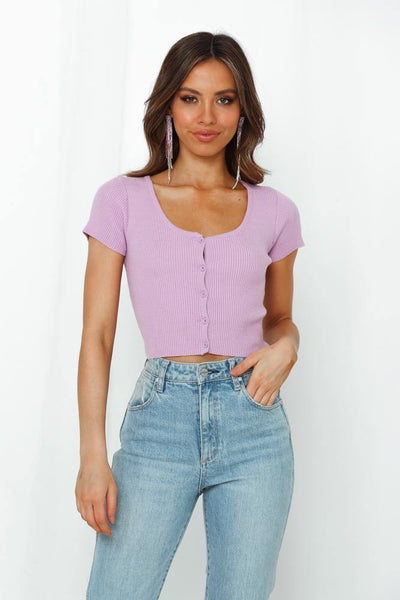Empty Sin City Knit Top Lilac