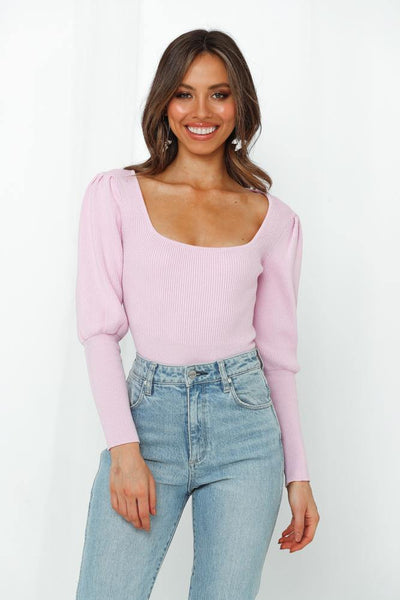 Champagne Toasts Knit Top Lilac | Hello Molly USA