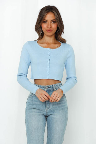 Want Me Back Crop Cardigan Blue